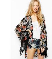 2014 fashion New Women Ladies Vintage Floral Printed Tassel Kimono Jacket Casual Loose Sun Protection Summer Outerwear    #C0532