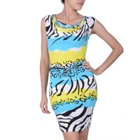 2014 Free Shipping Newest Fashion Red/ Blue/Yellow Printed V-Neck Bodycon Dress Prom Ball Party Clubwear Dresses b11 SV004492