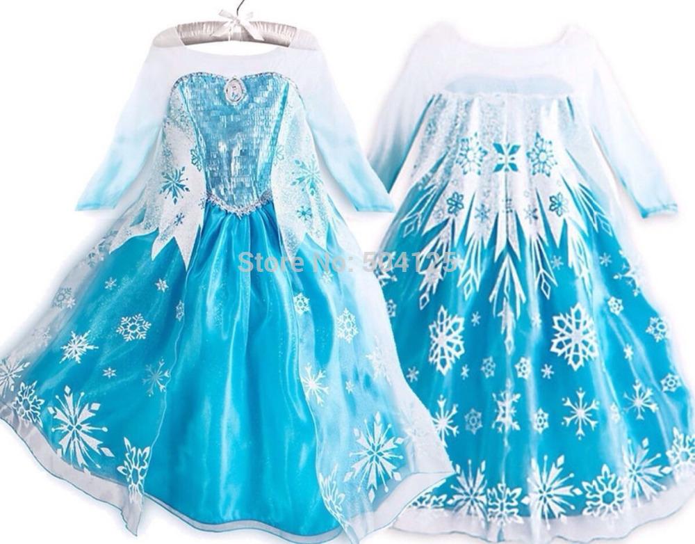 One Piece 2014 Anime Movie Frozen Queen Girls Deluxe Elsa Snow Queen Fancy Dress Costume Princess Child Toddler Pixar Movie(China (Mainland))