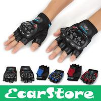Black Blue Red Men's Motorcycle Motorbike Fingerless Protective gear Racing Gloves