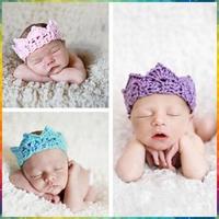 knit headband Hot Infant Baby Toddler Crochet Crown Headband Soft Headwear Crochet Hair Accessories #8P0018 20pcs/lot(12colors)