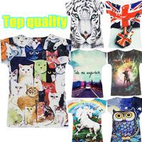 New 2014 spring and summer women t-shirt fashion animal cat print tops for women's tee casual women harajuku T shirt