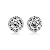 Hearts Arrows Ideal cushion cut Swiss Cubic Zirconia Diamond Halo stud earrings 11mm 18K white gold plated earrings