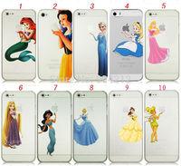 Princess Snow White Frozen Elsa Anna Cinderella Little Mermaid Ariel Holding Logo Plastic Hard Case for iPhone 4 4S 5 5S 5c