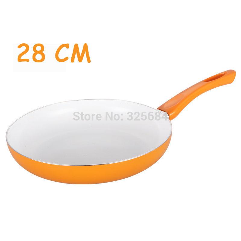 Multi color free shipping top quality 28 cm white ceramic coating frying pan aluminum alloy non stick ceramic pan no lampblack(China (Mainland))