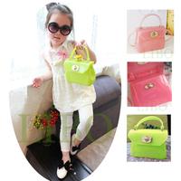 2015 children girl baby new mini handbag jelly candy color shoulder Messenger bag patent Leather transparent purse tote PVC