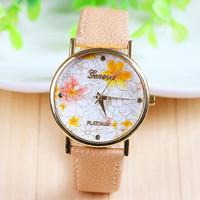New Arrival Hot Selling Beige Flower Leather Wrist Watch Flower Geneva Watch Women Dress Watch 1piece/lot BW-SB-743
