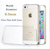 2014 Slim 0.3mm For iphone 5 5s Transparent clear Soft Silicon TPU Crystal Clear Case Cover for iPhone 5 5s Phone case 8 color