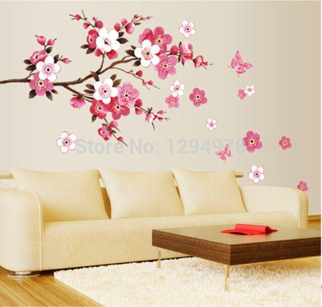Koop roze bloemen vlinder grote badkamer decor verwijderbare muurstickers - Muur decoratie volwassen kamer ...