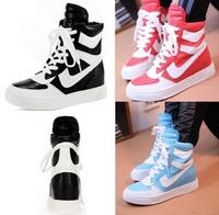 women sneaker high help women canvas hip pop fashion Korean flat shoes height increasing sneaker,free shipping,L0693