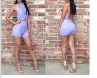 New 2014 summer Fashion Women's short purple Jumpsuit Sexy Brand overalls Club  short romper Bandage Bodycon