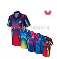 2014  Free shipping  men shirt Butterfly shirt  Man's Badminton shirt /table tennis butterfly Men shirt 5 color shirt BWH-259