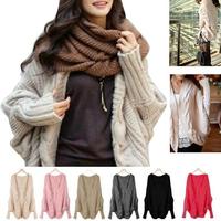 2014 Women's New Style Thick Knitting Cardigan Sweater Blazer Loose Wraps Long-Sleeve Batwing Sleeve Shawl Winter Sweaters Coat