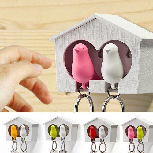 1Set Free Shipping Double Whistle Bird House Car Keyring Wall Mount Hook Key Hanger Holder Plastic Sparrow Key Holder Keychains(China (Mainland))