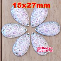 Hot sale Free Shipping, 100pcs/Lot, 15x27mm Crystal AB / Clear AB sew on teardrop stones flat back resin sew on rhinestones