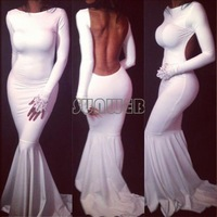 New Fashion Celeb Style Maxi Dress Backless Party Evening prom Wedding Bodycon Ladies Long Mermaid Dress B16 SV004168