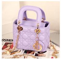 2014 spring and summer sheepskin  plaid handbag women  candy color shoulder bag messenger bag 2 style
