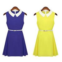 New 2014 Summer Cute Women Chiffon Slim Fit Sleeveless Dress with Belt, White, Yellow, Orange, Blue , S, M, L, XL
