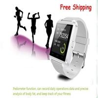 2014 Free shipping U8 waterproof bluetooth smart wrist watch Phonebook/hand free dail/answer smart watch for andriod phone