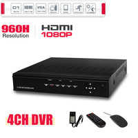 1080P HDMI 4CH Full D1 CCTV DVR 960H Recording Valid Remote Network Mobile Phone View 4CH Stand Alone DVR P2P