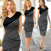 2014 Hot New Elegant Classy Striped Patchwork V-Neck Hidden Back Zipper Short Empire Mid-Calf Bodycon Black Women Pencil Dresses