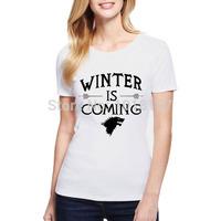 New arrival Womens t shirt winter is coming t shirts Fashion Design Women Cotton Tee Shirt S-XXL