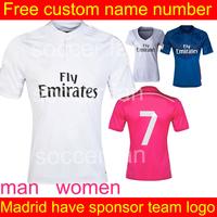Real Madrid  soccer jersey 2015 thailand quality # 7 Ronaldo Isco Ozil home jersey Futbol Shirt Romas Bale Casillas women Jersey