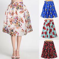 17Colors New 2015 Spring Summer Vintage Flower Cherry Print Ball Gown Pleated Midi Skater Skirt Saia For Women Girl 14515