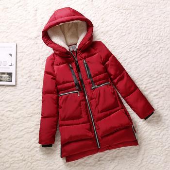 2014 winter Женщины Wadded jacket Красный female medium-Длинный plus Размер 3X lady ...