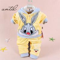 2014 Spring/Autumn baby set cartoon rabbit velvet set twinset long sleeve set hoodie and pant children clothing, free shipping