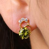 EJ-0126, carina jewelry Fashion Earrings 18k Gold Plated FOR Women Clear Stone 925 silver earrings zircon