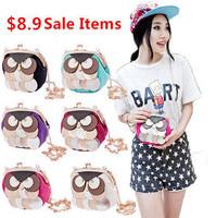 Cure cartoon 2014 women owl bag female mini desigual PU leather +cloth shoulder messenger bags change purse 6 colors  B-01