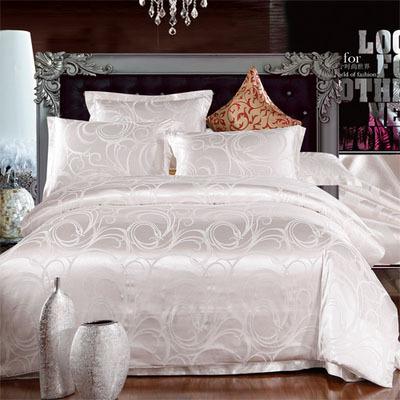 Luxury bed linen tribute silk satin jacquard 4pcs silver bedding set /comforter set/duvet cover King Size Free Shipping Khaleesi(China (Mainland))