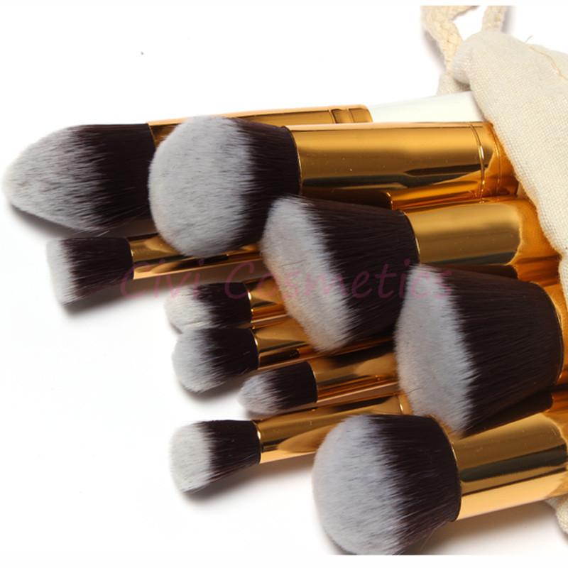 10Pcs Soft Synthetic Hair Make up Tools Kit Cosmetic Beauty Black Makeup Brush Sets with Gift Draw String Bag(China (Mainland))