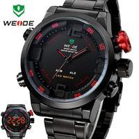 2014 New Sale Hot WEIDE Multi-function Quartz military Watchs  Men Quartz Fashion Casual  Steel LED Wristwatches#WH2309Red