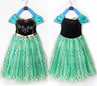 1pieces retail, new 2014 Frozen Elsa Anna costume princess dress sequined cartoon costume Free shipping girls dresses.