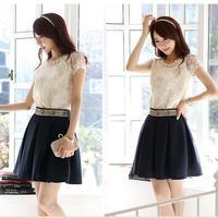 Black New 2014 Women Skirts Chiffon Women's Skirt Beads Silk Mini Dress New 2014 Plus Size Women Clothing Free Shipping