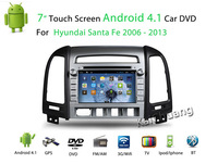 "FREE SHIPPING 7"" 2 din car DVD for HYUNDAI SANTA FE 2006-13 android 4.4  with Radio,GPS,Ipod,Bluetooth,SWC,Wifi,3D UI HD SCREEN"