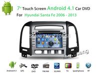"FREE SHIPPING 7"" 2 din car DVD for HYUNDAI SANTA FE 2006-13 android 4.4  with Radio,GPS,Ipod,Bluetooth,SWC,Wifi,3D UI HD SCREEN"
