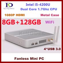 Fanless 8GB Ram/128GB SSD Mini PC HTPC Intel Core I5-4200U Dual Core Quad Threads USB 3.0 Port Wifi support, dual antennas(Hong Kong)