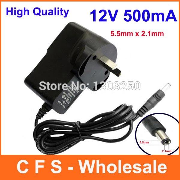 100pcs AU Plug Adapter AC 100-240V to DC 12V 500mA Power Supply Adaptor Converter 5.5mm x 2.1mm DHL Free shipping Lot Wholesale(China (Mainland))