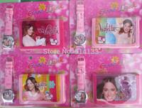 new High quality Free shipping 3pcs violetta watch, cartoon kids Set watchs Wristwatch and wallet purse,best gift