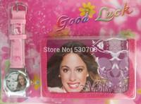 Drop shipping 20pcs 3D cartoons Violetta kids watch fashion Wristwatch and wallet Violet