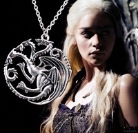2pcs European style dragon necklace Song of Ice and Fire Game of Thrones women Jewelry fashion movie 2015 new