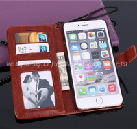 1pcs luxury pu flip wallet leather case for iphone 6 plus 5.5'' for iphone6 plus case cover with credit card holder 9 color