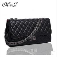 2014 Brand Design Women Handbag Genuine Sheep Leather Plaid Chain Bag Euramerican Style Women Shoulder Bag Women Messenger Bag
