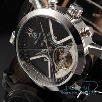 FORSINING New 2015 Luxury Mechanical Black Dial Watch Auto Flywheel Men's Watches Wristwatch Free Shipping