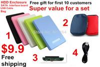 "Freeshipping $9.9 a set Super Value 2.5"" SATA+USB 2.0 HDD Enclosure External Storage Hard Hrive Disk 1tb Case"