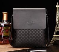 NEW Arrival brand man's messenger bag leather shoulder bag plaid cross body bag business briefcase free shipping