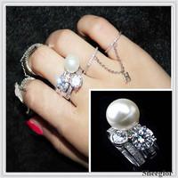 Elegant Luxury Crystal rings sets Silver Rhinestone & Pearl ring women High quality New 2014 Half open ring sets